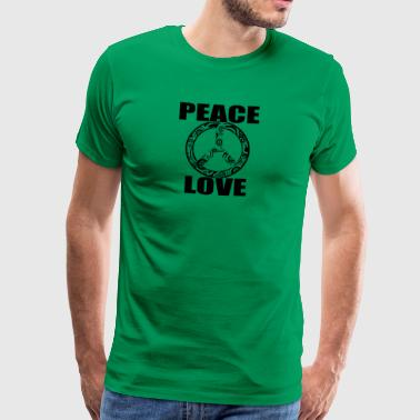 Peace Love T-shirt Peace and Love fredstecken - Premium-T-shirt herr