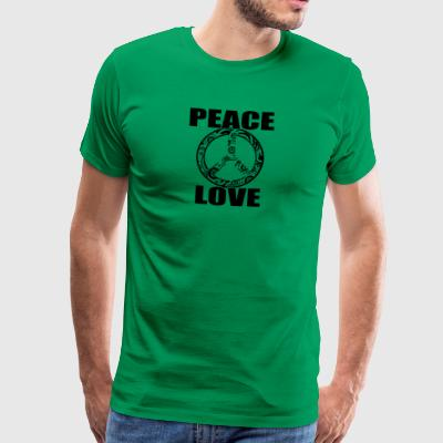 Peace Love T-shirt Peace and Love Peace Sign - Herre premium T-shirt