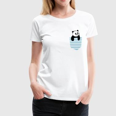 Panda Stripe Pocket - Frauen Premium T-Shirt