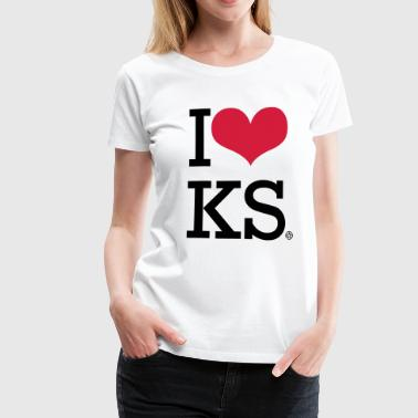 I LOVE KS - Dame premium T-shirt