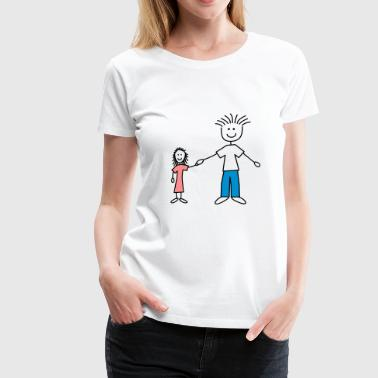 family_dad_and_girl_3c - Frauen Premium T-Shirt