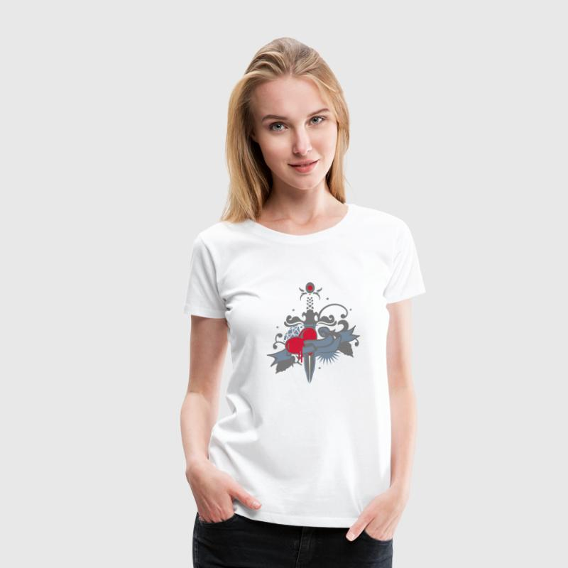 The heart with dagger, diamond, rose and banner - Women's Premium T-Shirt