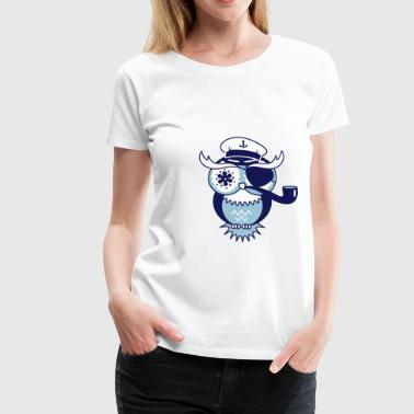 An owl with captain's hat, eye patch and pipe tobacco - Women's Premium T-Shirt