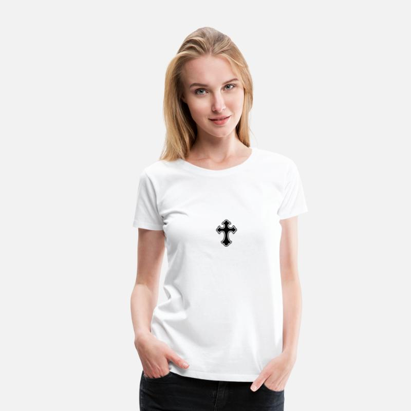 Angel T-Shirts - cross, christ, jesus, crucifixion, crucifix, Christianity, bible, gothic, goth, emo, dark, death, rip, suicide, angel, devil, art nouveau, Victorian, church, faith, pagan, ritual, satan, satanism, - Women's Premium T-Shirt white