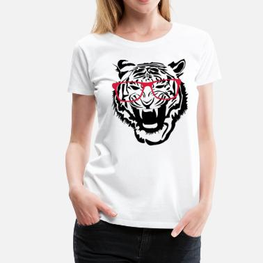 Glass Tiger Tiger lion nerd glasses - Women's Premium T-Shirt