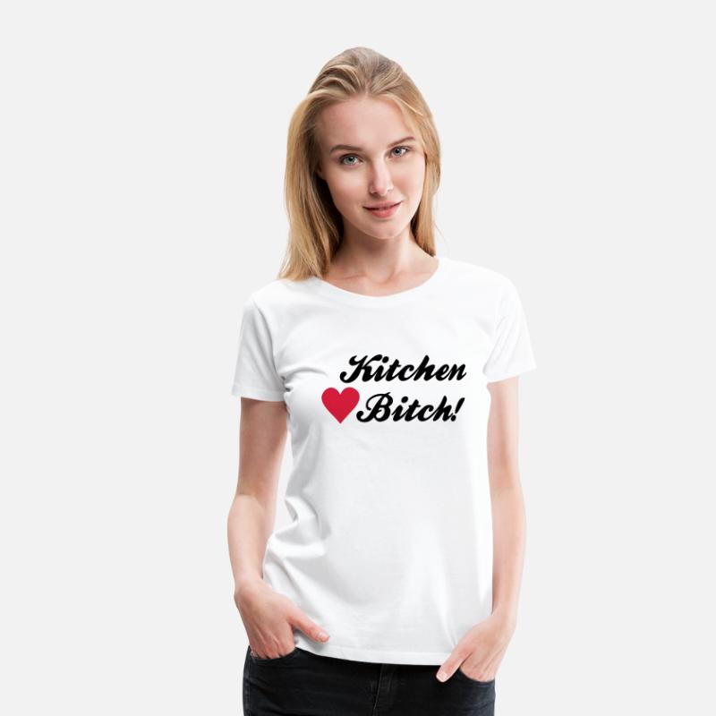 Kitchen T-Shirts - kitchen bitch - Vrouwen premium T-shirt wit