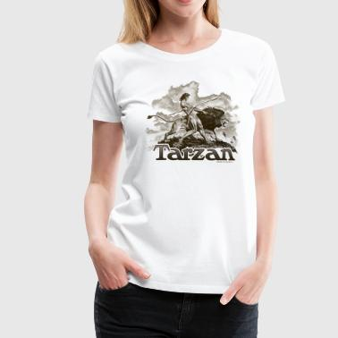 Tarzan Wild Lion Cool Drawing - Women's Premium T-Shirt