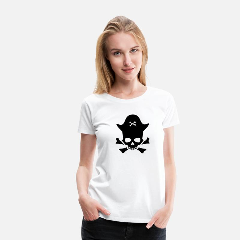 Gift Idea T-Shirts - Skull pirate captain - Women's Premium T-Shirt white