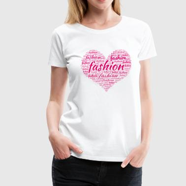 Fashion Word Art in Heart - Women's Premium T-Shirt