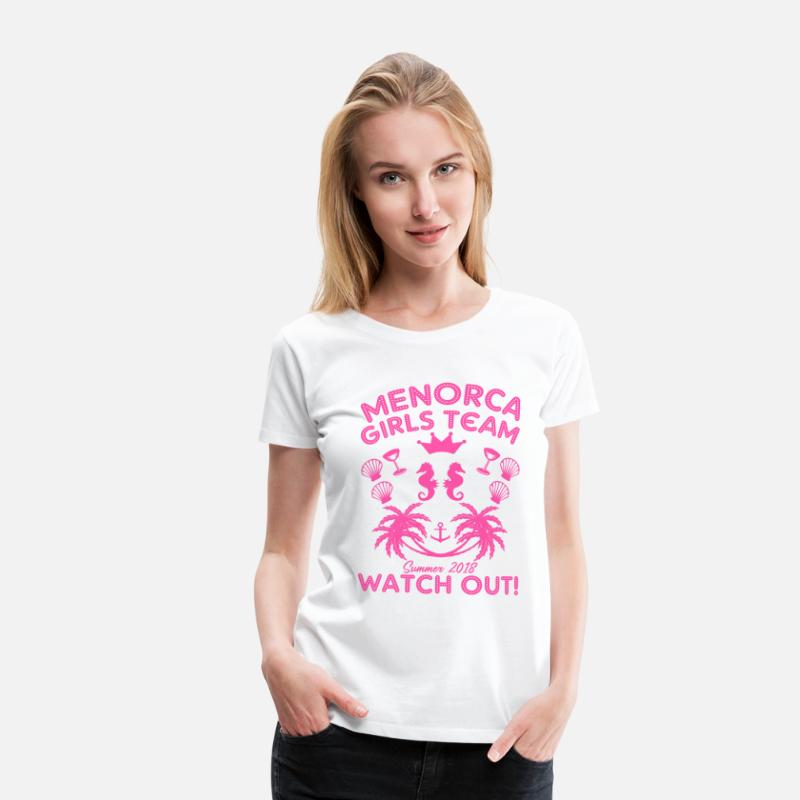Holiday T-Shirts - MENORCA GIRLS TEAM SUMMER 2018 HOLIDAY PARTY GIRL - Women's Premium T-Shirt white