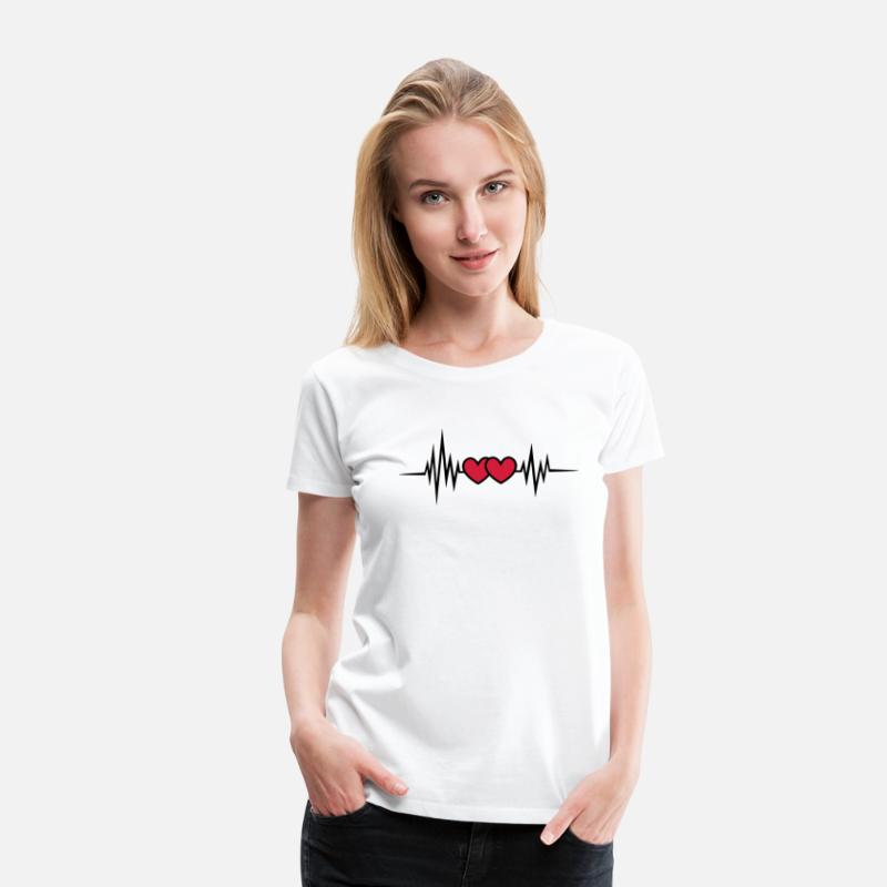 Equalizer T-Shirts - Pulse, frequency heartbeat, hearts Valentine's Day - Women's Premium T-Shirt white