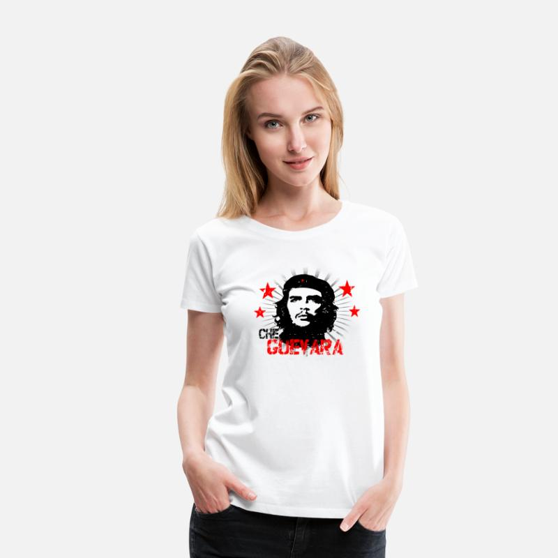 Officialbrands T-Shirts - Che Guevara Distressed Frauen T-Shirt - Frauen Premium T-Shirt Weiß
