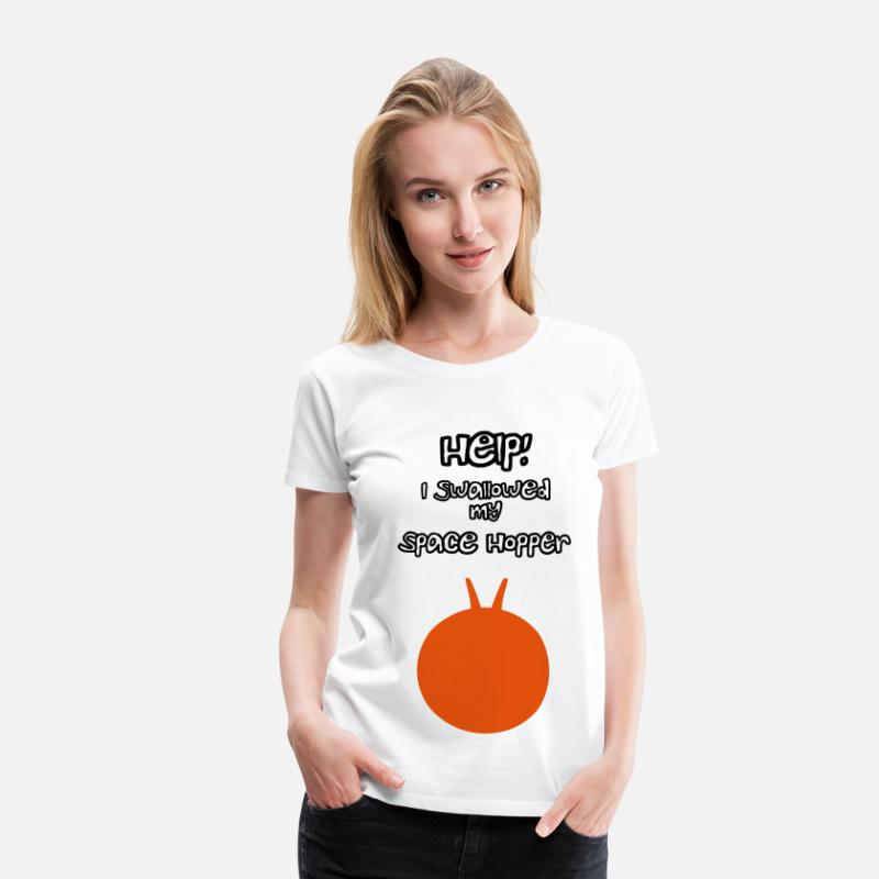 Funny T-Shirts - Help I Swallowed My Space Hopper - Women's Premium T-Shirt white