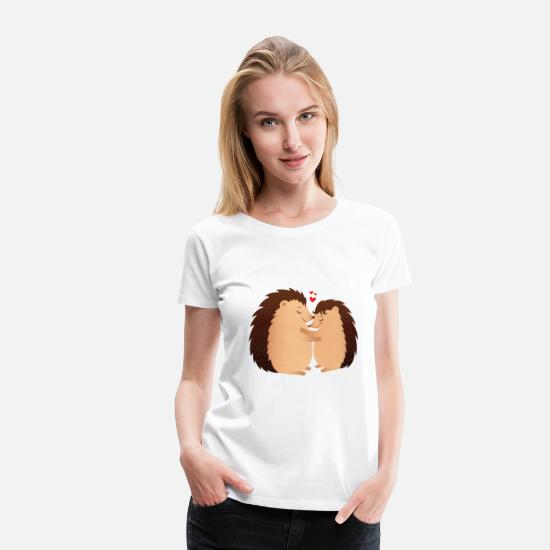 Love T-Shirts - Hedgehugs | Cute Hedgehog Love Couple - Women's Premium T-Shirt white