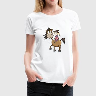 Chica a caballo Western riding Western - Camiseta premium mujer