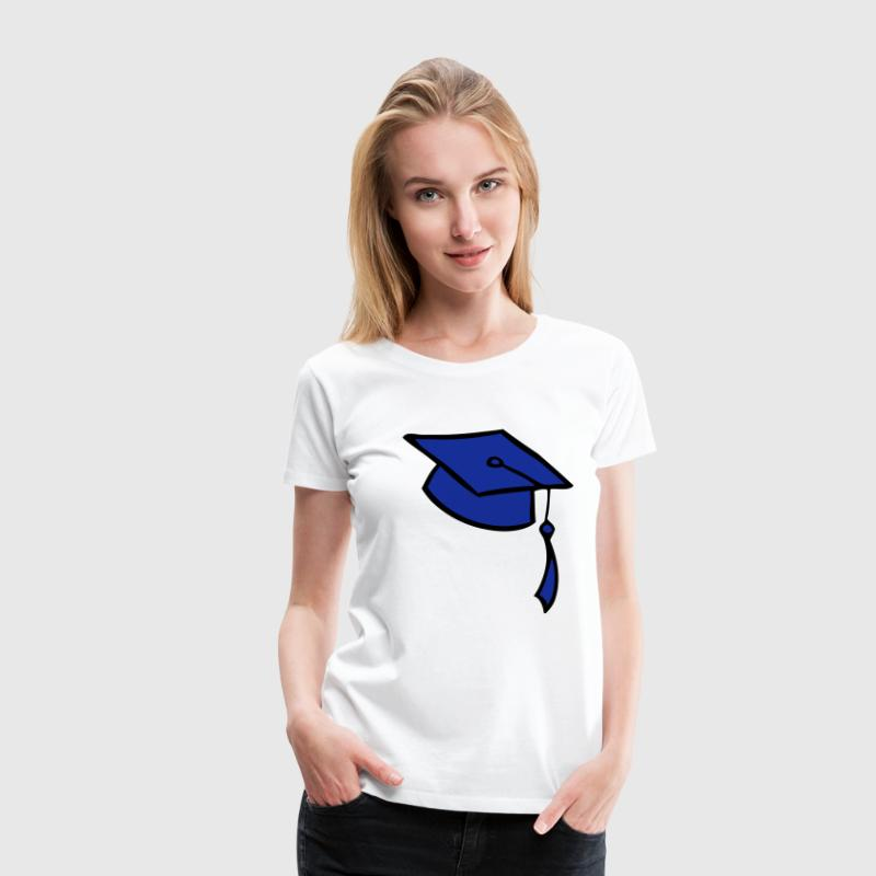 college, graduation, cap, trains, University of, conclusion, diploma, bachelor, master, hat, cap, robe, robe, censorship  - Women's Premium T-Shirt