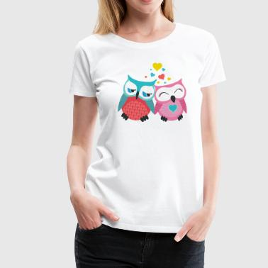 owls in love  hiboux amoureux  - T-shirt Premium Femme