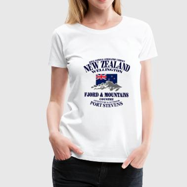 New Zealand - Mountains & Flag - Maglietta Premium da donna