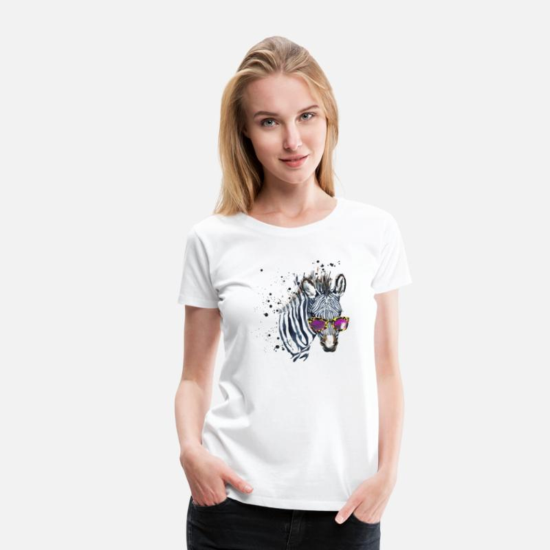 Officialbrands T-Shirts - Animal Planet Zebra with sunglasses Women T-Shirt - Women's Premium T-Shirt white