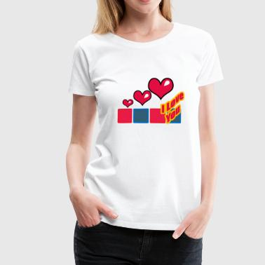 Hearts of Love with pictures: I love you - Women's Premium T-Shirt