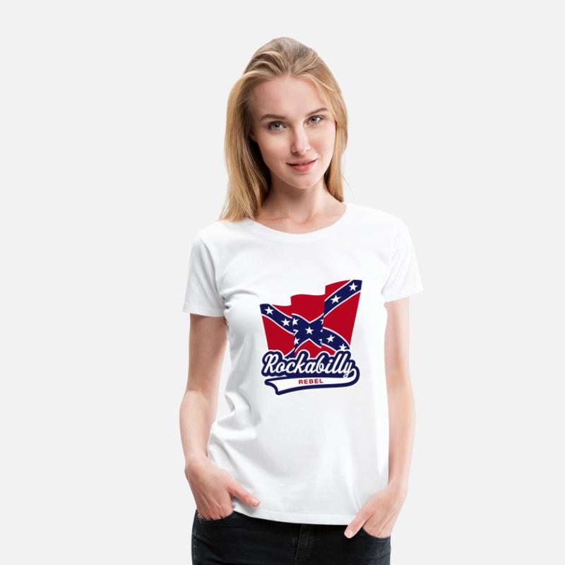 Confederate T-Shirts - Rockabilly Rebel Flag - Women's Premium T-Shirt white