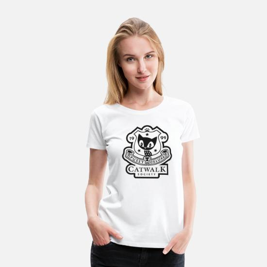 Officialbrands T-Shirts - Pussy Deluxe Catwalk Society  - Women's Premium T-Shirt white