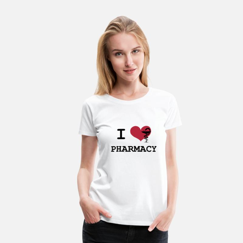 Drôles T-shirts - I Love Pharmacy - T-shirt premium Femme blanc