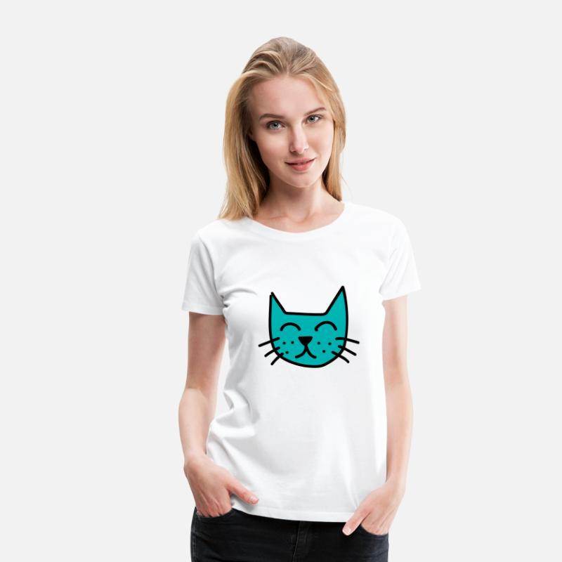Birthday T-Shirts - Drawing cats cat face mustache meow - Women's Premium T-Shirt white