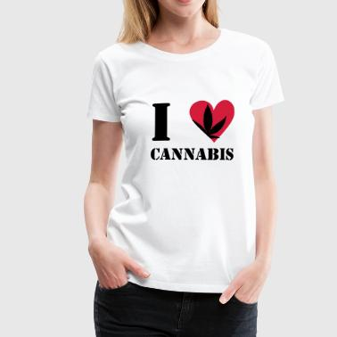 Cannabis-heart I love cannabis / cannabis hemp leaf I heart to heart - Women's Premium T-Shirt