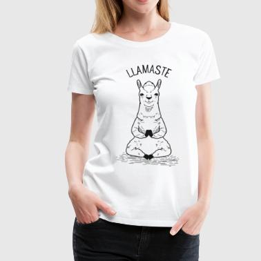 Llamaste - Llama Meditating Illustration - Women's Premium T-Shirt