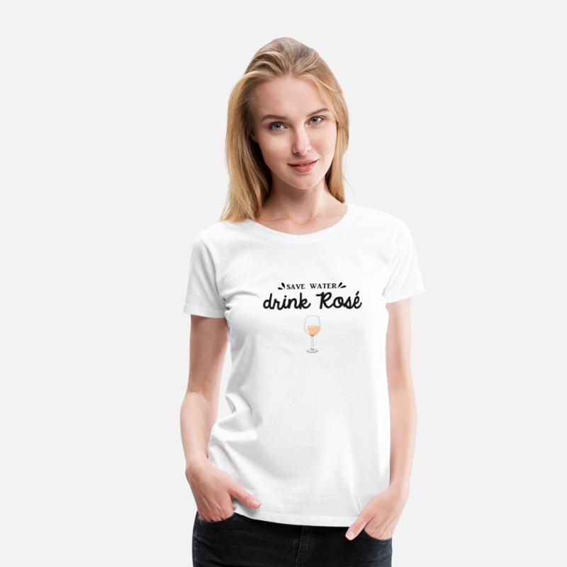 Fête T-shirts - SAVE WATER DRINK ROSE - T-shirt premium Femme blanc