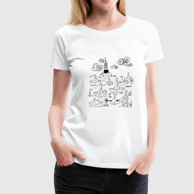 Ships in the port - Dame premium T-shirt