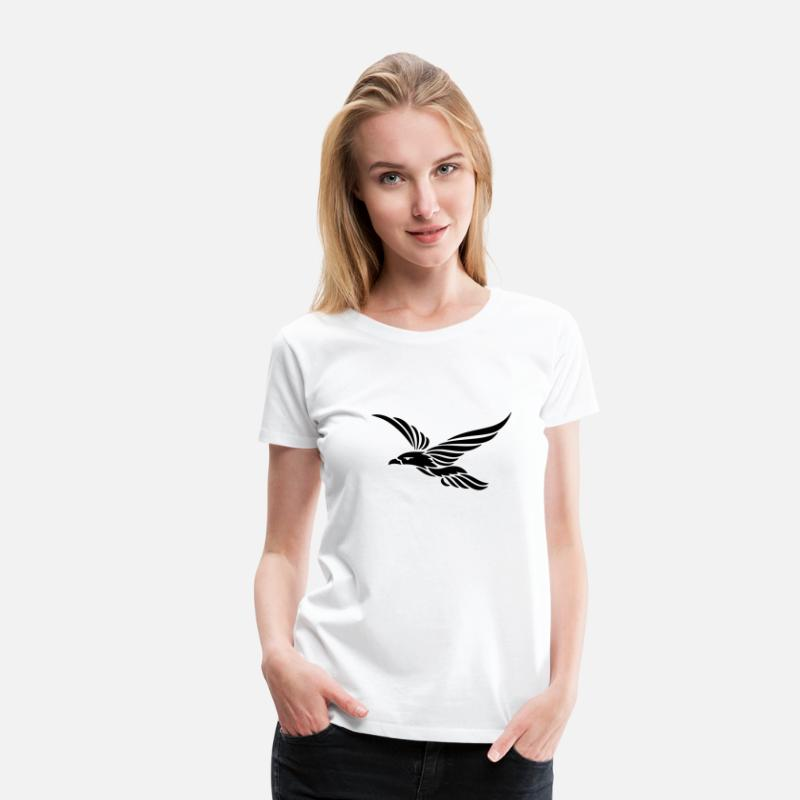 Raven T-Shirts - Tribal Raven 1c - Women's Premium T-Shirt white