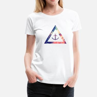 Hipster Anchor  Galaxy / universe / hipster triangle with anchor - Women's Premium T-Shirt