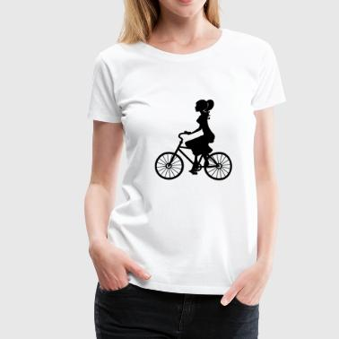 Bike Stencil Woman on bicycle / bike - ideal for cycling - Women's Premium T-Shirt