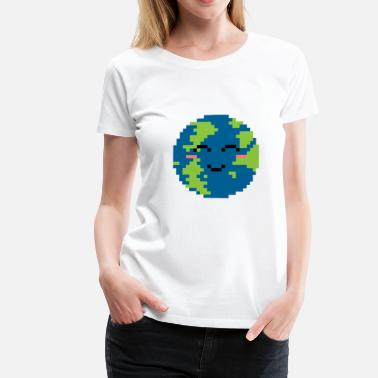 Globe Pixelated Grinning Earth - Gift Idea - Women's Premium T-Shirt