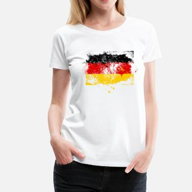 4b3c605b86bef6 Deutschland Deutschland Flagge Fahne Grunge Graffiti Stil Deutsche Fußball  Meisterschaft - Frauen Premium T-Shirt