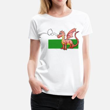 Welsh Dragon Puffing Welsh Dragon - Gregory - Women's Premium T-Shirt