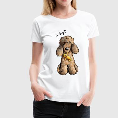 Playing Poodle - Poodles - Teddy - Comic - Women's Premium T-Shirt