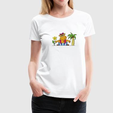 Hippo funny hippo with sunflower Hippo hippo - Women's Premium T-Shirt