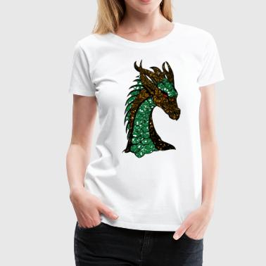 The green gold sparkling dragon - Women's Premium T-Shirt