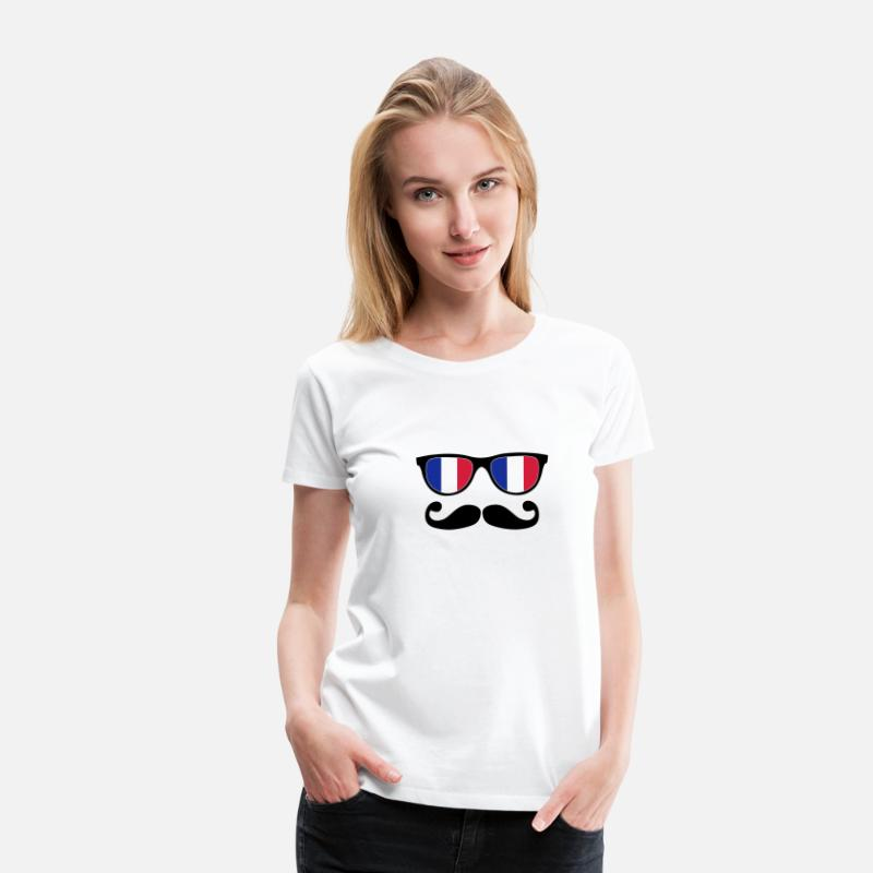 French T-Shirts - french mustache glasses nerd - like a sir - Women's Premium T-Shirt white