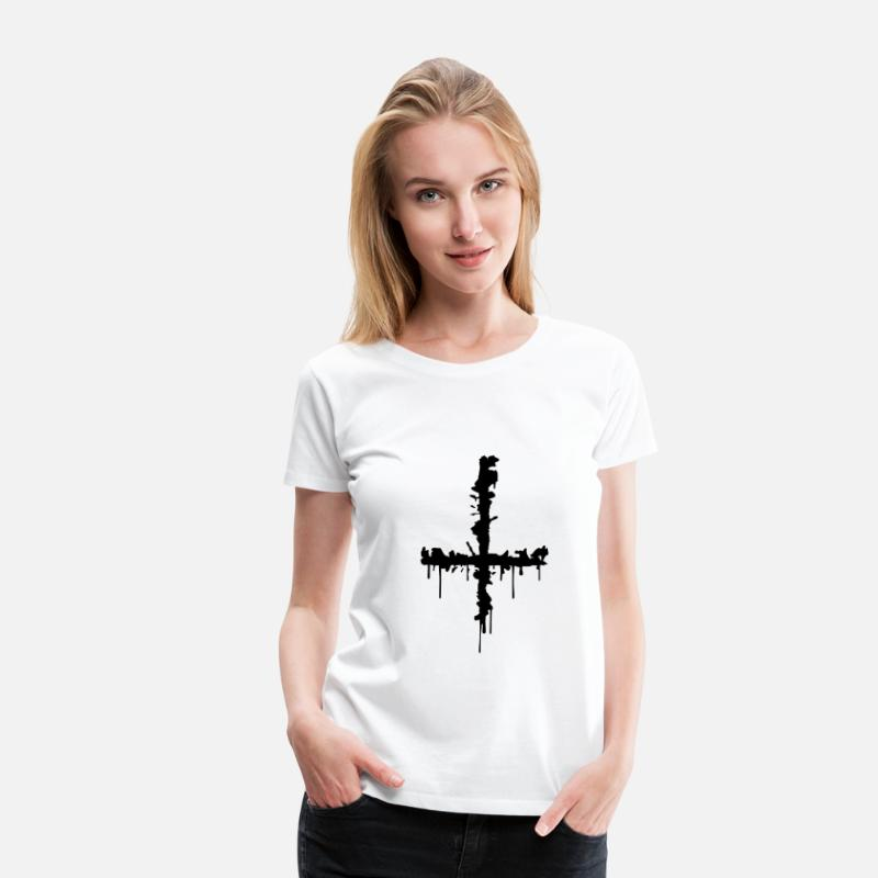 Satanic T-Shirts - Satan Cross - Women's Premium T-Shirt white