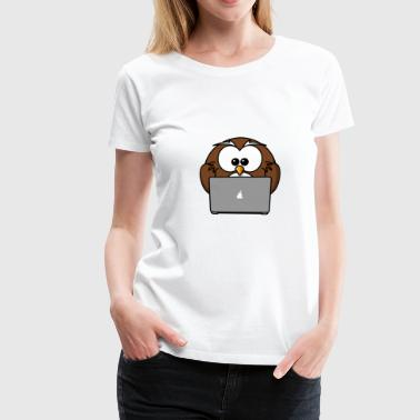 Laptop owl with notebook - Women's Premium T-Shirt