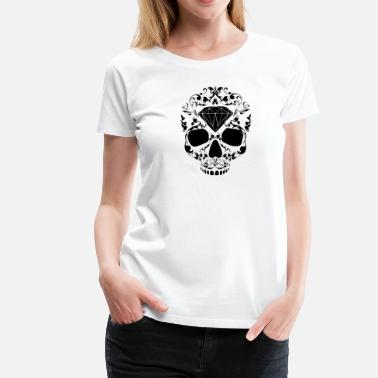 Diamonds Swag Skull Skullhead Floral Diamond Hipster Swag Black - Women's Premium T-Shirt