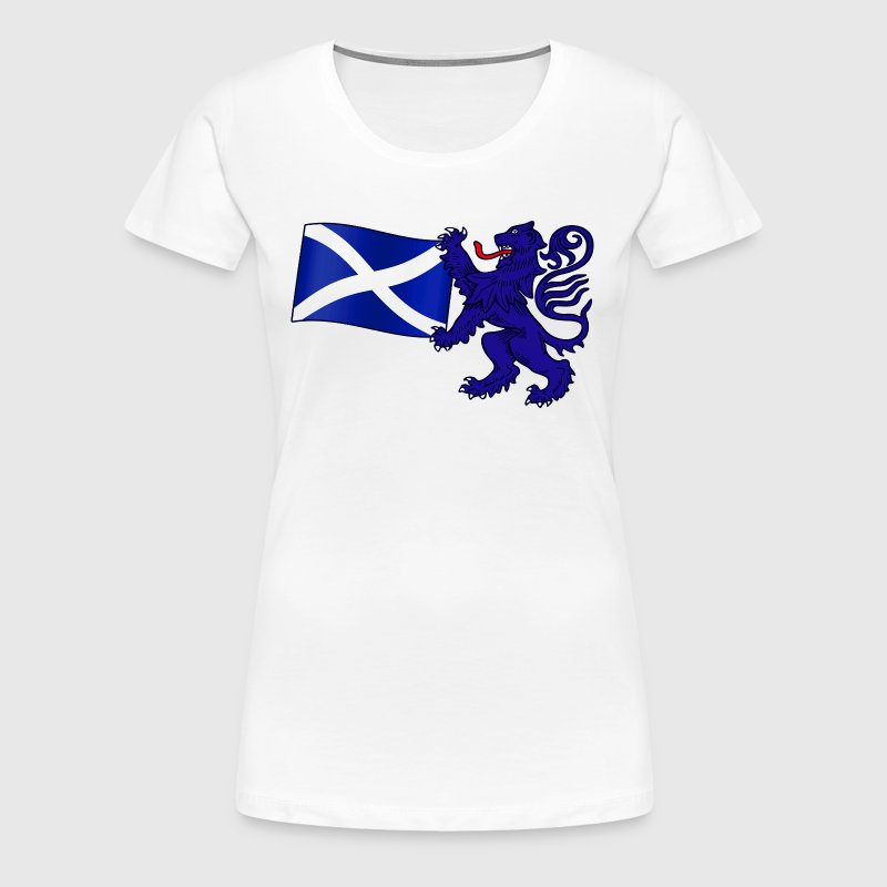 Scottish Lion Rampant Holding the Saltire Flag - Women's Premium T-Shirt