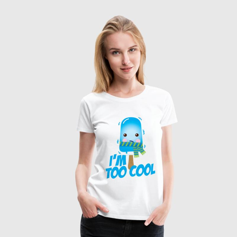 Comic too cool quote ice cream vintage character with scarf for hot sunny summer or freezing cold winter snow weather t-shirts - Women's Premium T-Shirt
