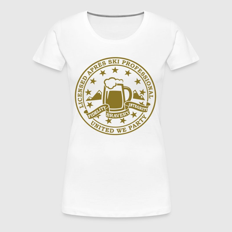 Comic i love winter sports Après-ski beer skiing and party license badge slogan for geek clubbing stag do students partying  - Women's Premium T-Shirt