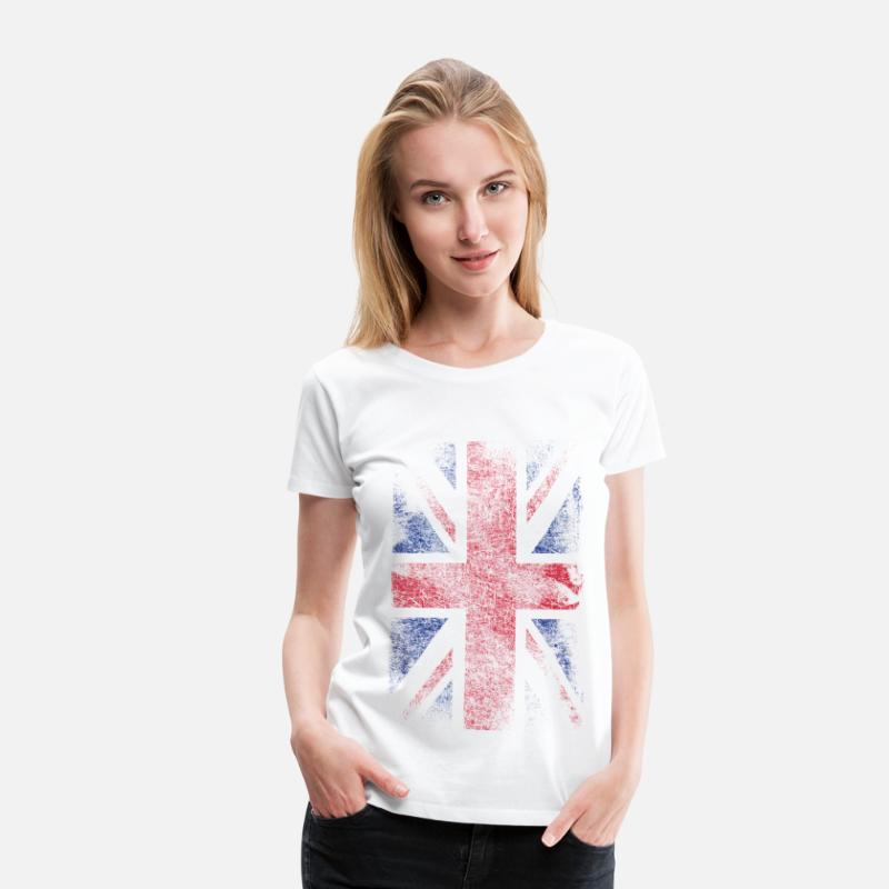London T-Shirts - union jack - used look - Frauen Premium T-Shirt Weiß