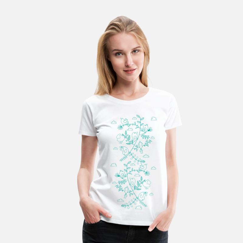 Nature Collection T-shirts - birds and leaves - Premium T-shirt dam vit